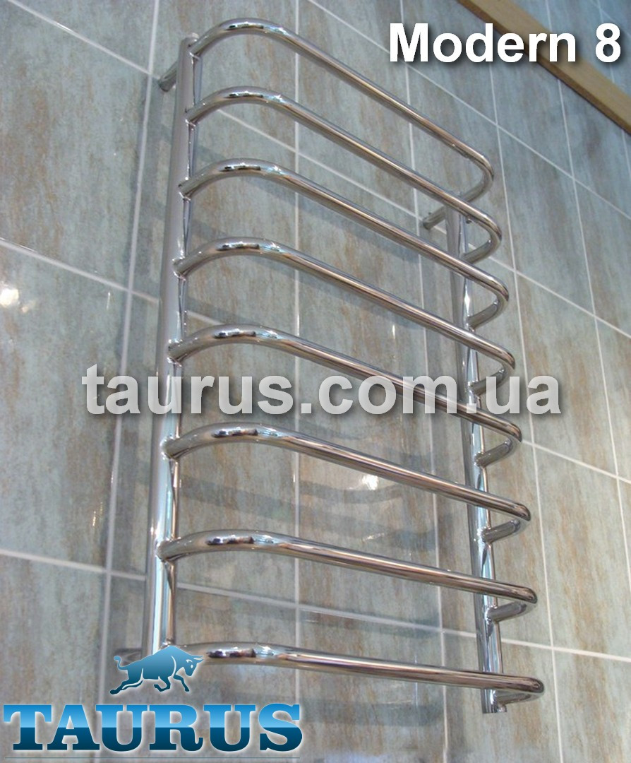 Узкий полотенцесушитель нержавеющий для ванной комнаты Modern 8/850х400. П-форма перекладин из трубы 20мм