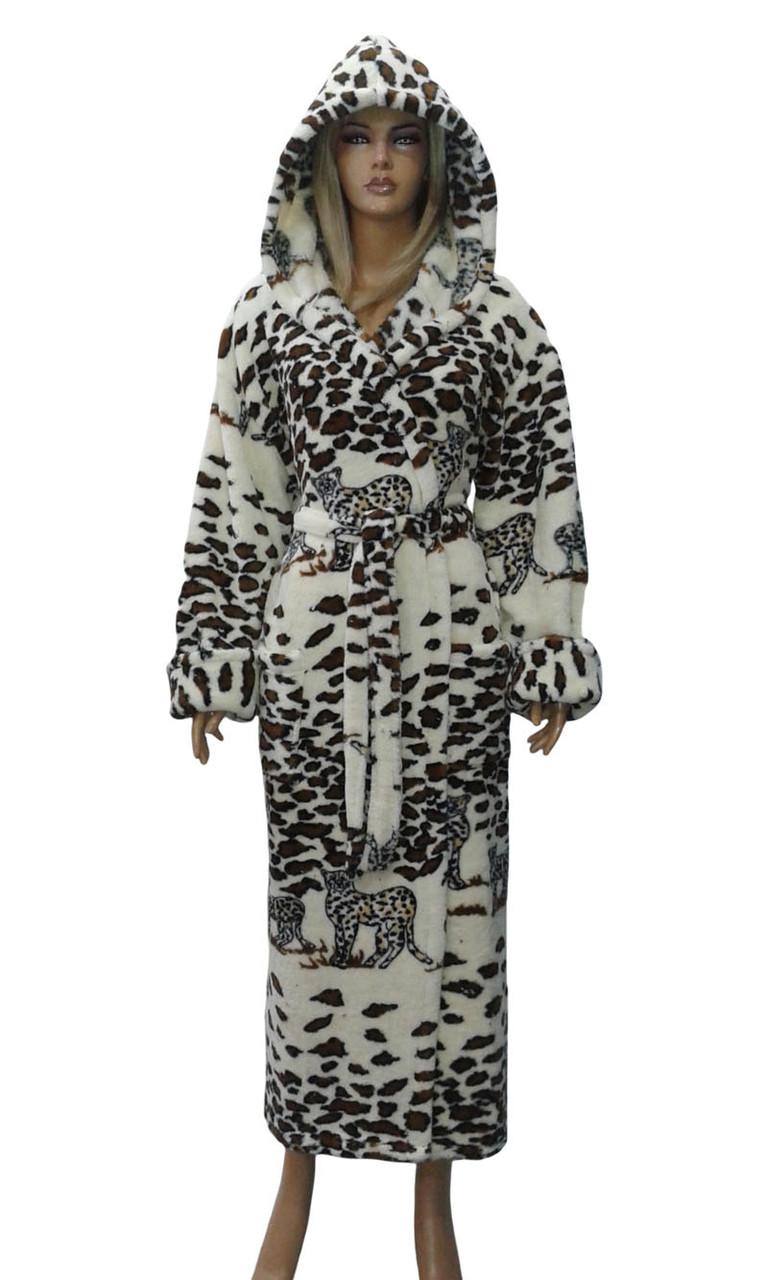 Халат жіночий пухнастий (леопард). Туреччина. Polar.
