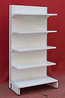Торговый односторонний (пристенный) стеллаж «Регалс», 195х97 см., белый, Б/у