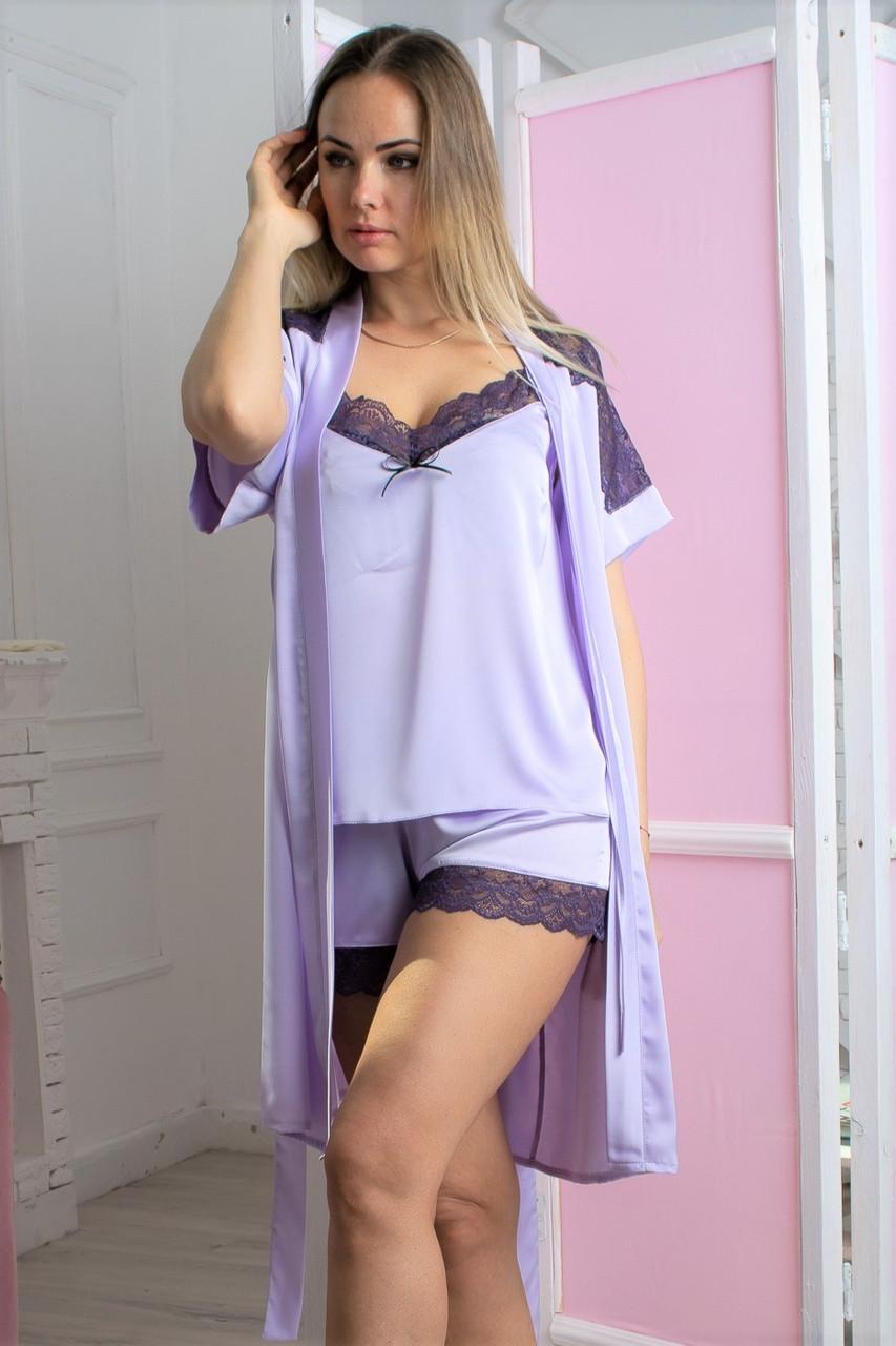 Шелковый комплект для сна пижама и халат К1007п Лаванда