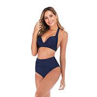 Синий купальник высокая талия модный 2020 Купальник Пушап PushUp красивый 130-35-1