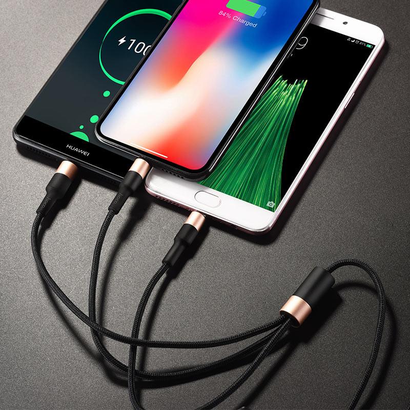 Дата кабель Hoco X26 Xpress 3in1 Lightning -MicroUSB-Type-C Черный