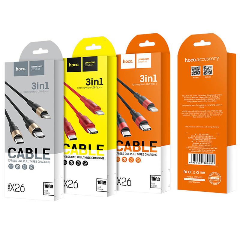 Дата кабель Hoco X26 Xpress 3in1 Lightning -MicroUSB-Type-C Черный Золотой
