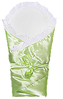 Атласный весенний осенний конверт-плед 80х80 для выписки новорожденного низ 100% хлопок 0909 Оливковый