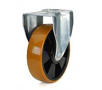 Колеса полиамид/желтый полиуретан, диаметр 160 мм с неповоротным среднеусиленным кронштейном