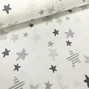 Хлопковая ткань польская звездочки серо-графитовые с горохом, зигзагом и полоской на белом