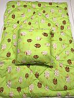 Детский антиалергенный набор в кроватку одеяло + подушка салатовое с барашками