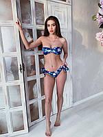 Женский купальник бандо с цветочным принтом