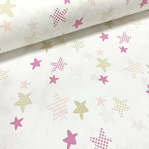 Хлопковая ткань польская звездочки бежевые и розовые с горохом, зигзагом и полоской на белом