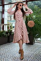 Женское платье миди в горох на запах с воланами пудрового цвета