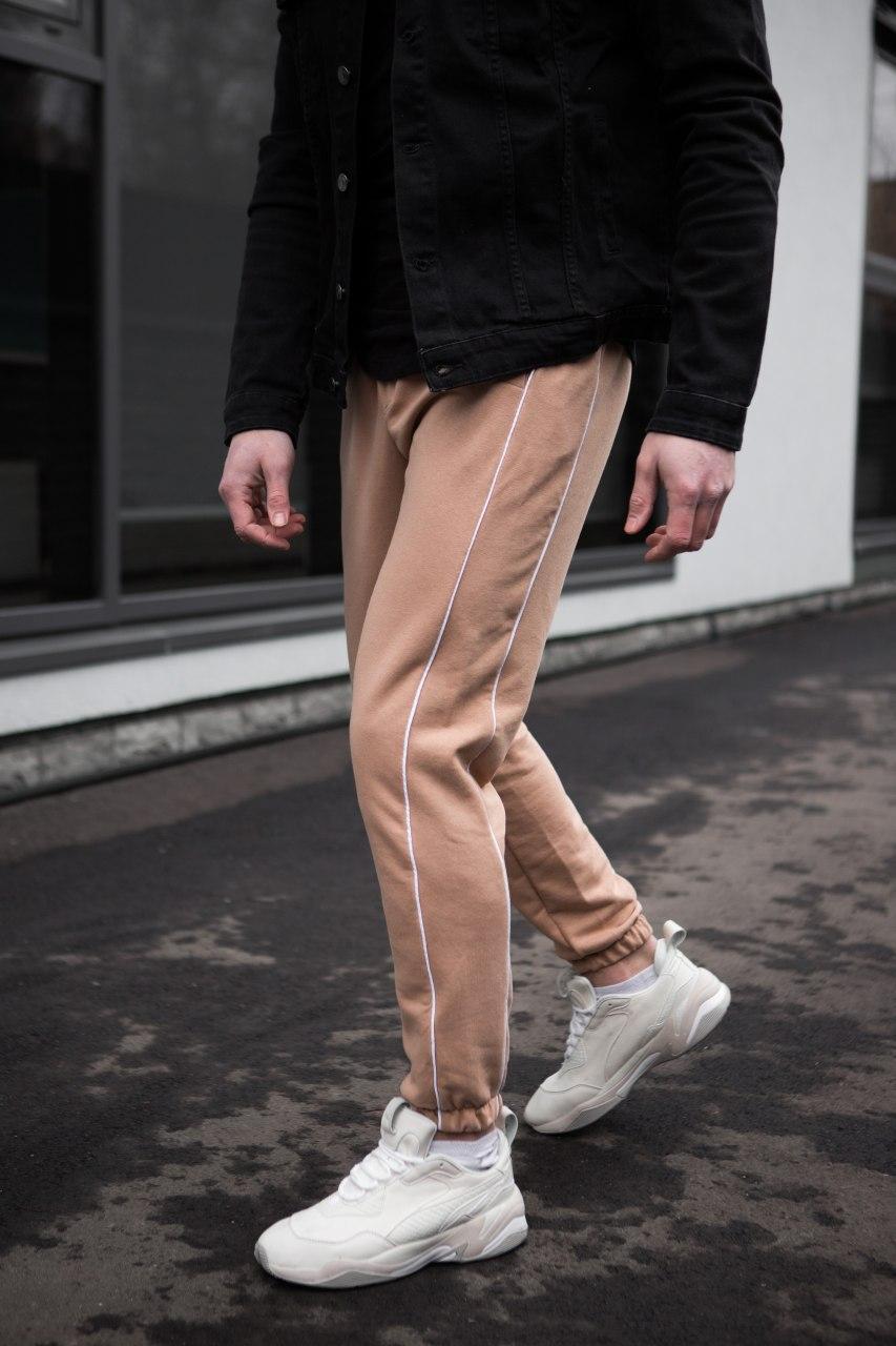 Мужские трикотажные штаны бежевые 2 полоски