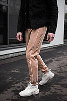 Мужские трикотажные штаны бежевые 2 полоски, фото 1