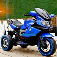 Детский Мотоцикл BMW синий (красный, белый), кожаное сиденье, свет/звук, 30W, MP3/USB, M3680L-4, BAMBI.