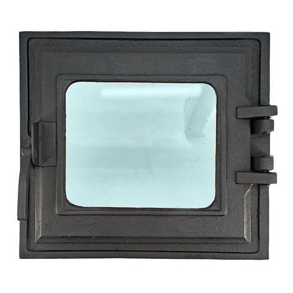 Топочная дверца для печи и камина со стеклом 330х360 мм, чугунная печная, каминная дверка 102866