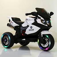 Детский Мотоцикл BMW белый (красный, синий), кожаное сиденье, свет/звук, 30W, MP3/USB, M3680L-1, BAMBI.