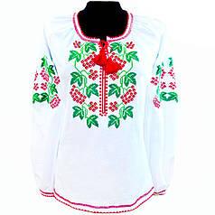 Блуза вышитая крестиком белая с длинным рукавом