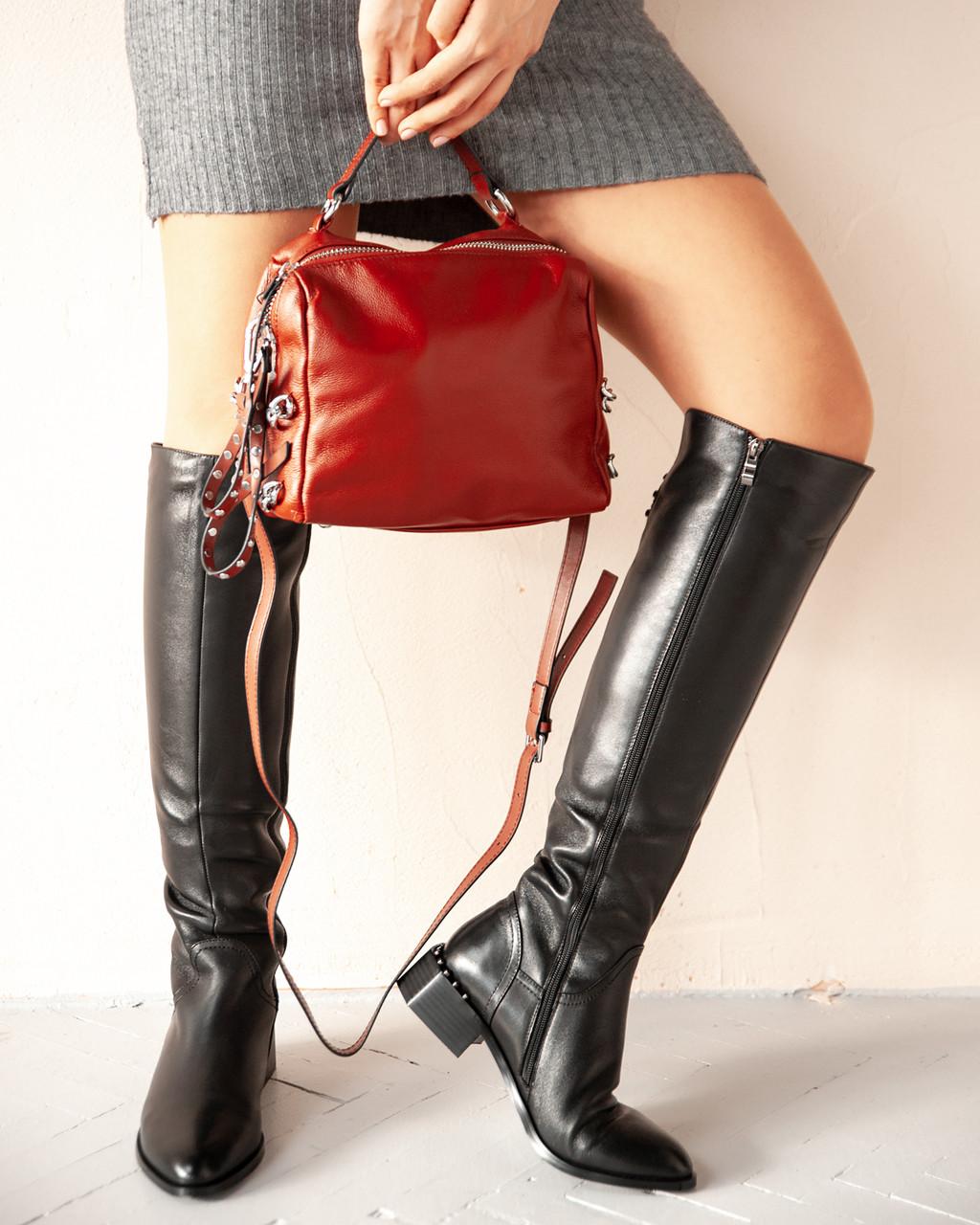 Чорні ботфорти жіночі чоботи INSHOES