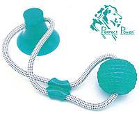 Игрушка для собак Мяч на веревке с присоской Perfect Power (Голубой) Игрушка для домашних животных