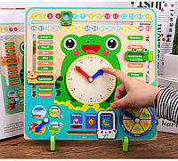 Деревянная развивающая обучающая игра Candywood Монтессори погода, часы, календарь (Английский язык), фото 1