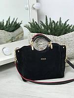 Стильная женская сумка замшевая черная, фото 1