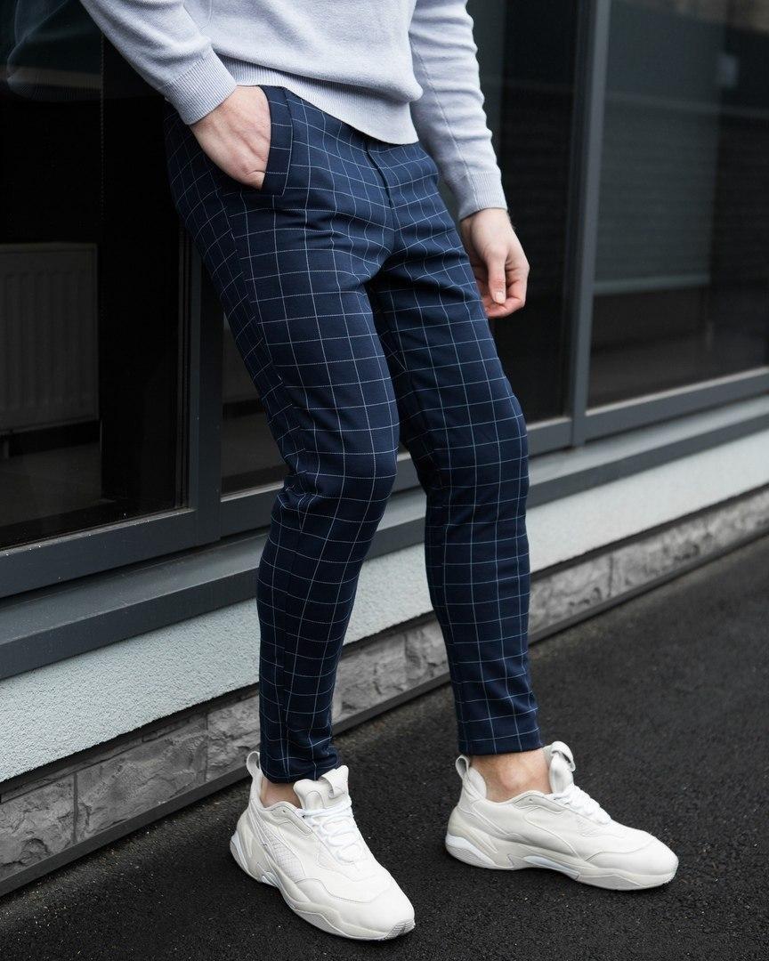 Мужские брюки классика клетка темно-синие