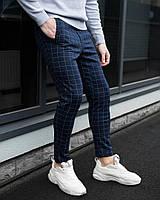 Мужские брюки классика клетка темно-синие, фото 1