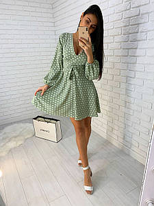 Короткое женское платье в горох на запах с декольте 42-44 р