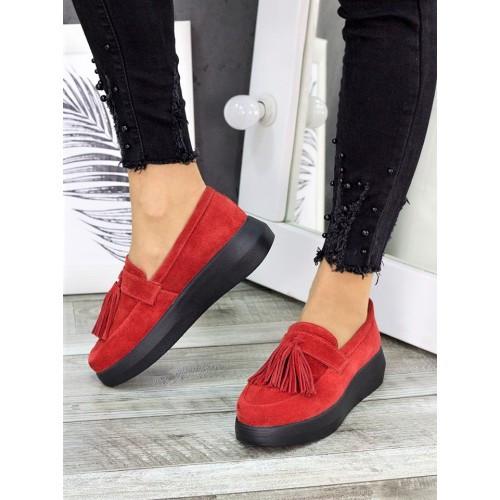 Женские туфли лоферы красная замша 7272-28