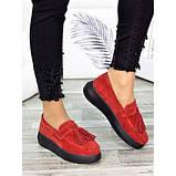 Женские туфли лоферы красная замша 7272-28, фото 3