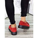 Женские туфли лоферы красная замша 7272-28, фото 5