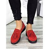 Женские туфли лоферы красная замша 7272-28, фото 4