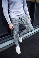 Мужские брюки классика в клетку серые, фото 1