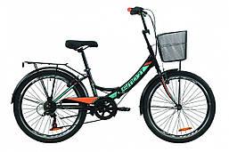 """Велосипед 24"""" Formula SMART 7 с багажником зад St, с крылом St, с корзиной St 2020 (серо-зелёный с черным (м))"""