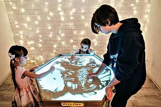 Шестиугольный стол для рисования песком Дуб