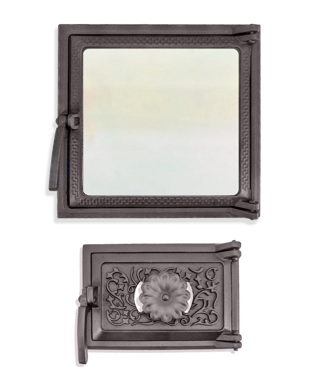 Дверцы для печи со стеклом 270х290 мм, дверка печная чугунная 102868К с регулировкой подачи воздуха