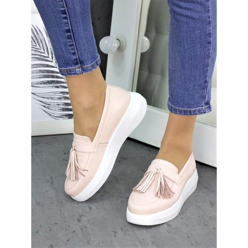 Женские туфли лоферы кожа пудра 7260-28