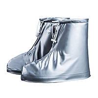 Резиновые бахилы на обувь от дождя Lesko SB-101 серый размер M надежная защита от грязи многоразовые моющиеся