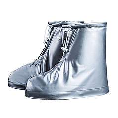 Гумові бахіли на взуття від дощу Lesko SB-101 сірий р. 44/45 надійний захист від бруду багаторазові