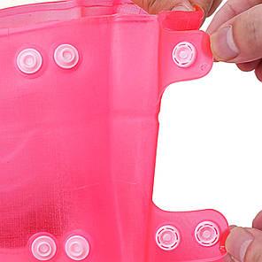 Гумові бахіли на взуття від дощу Lesko SB-108 рожевий р. 40/41 водонепроникний чохол від бруду на застібках, фото 2
