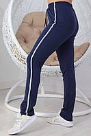 Женские трикотажные спортивные брюки с лампасом супербатал размеры 56-62