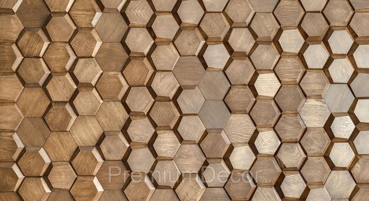 Деревянные 3Д панели стеновые УЛЕЙ мозаика с дерева дуб, ясень