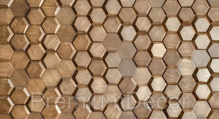 Деревянные 3Д панели стеновые УЛЕЙ мозаика с дерева дуб, ясень, фото 2