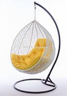 "Подвесное кресло кокон ""Гарди Биг"" (белый, подушка желтая)"