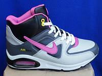 Подростковые кроссовки Найк аир макс три балона лицензия кожа на меху новые модели зимние с розовыми вставками, фото 1