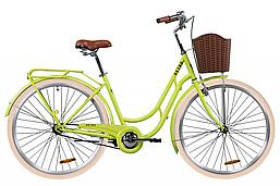 """Городской дорожный велосипед ST 28"""" Dorozhnik RETRO с багажником зад St,  2020 (салатный )"""