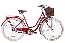 """Городской дорожный велосипед 28"""" Dorozhnik RETRO планет. 2020 (рубиновый)"""