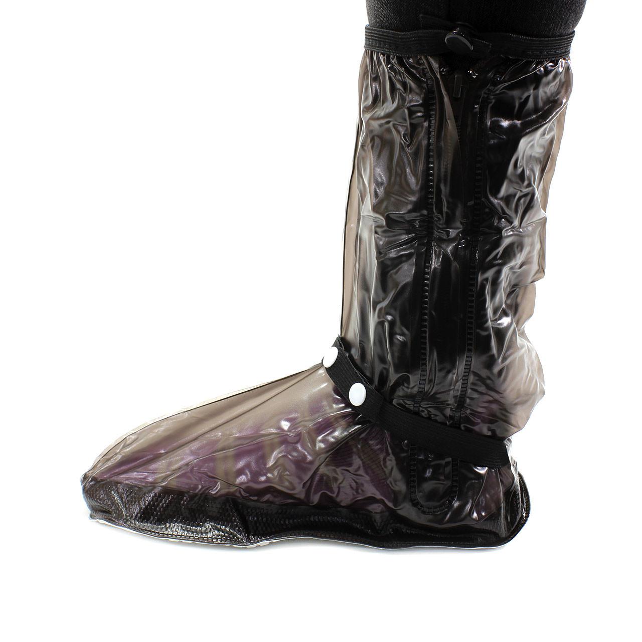 Резиновые бахилы на обувь от дождя Lesko SB-318 Черный размер M прочные водонепроницаемые защита от промокания