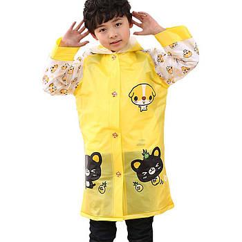 Детский плащ-дождевик Lesko водонепроницаемый с местом под рюкзак желтый размер L многоразовый защита от дождя