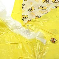 Детский плащ-дождевик Lesko водонепроницаемый с местом под рюкзак желтый размер L многоразовый защита от дождя, фото 7