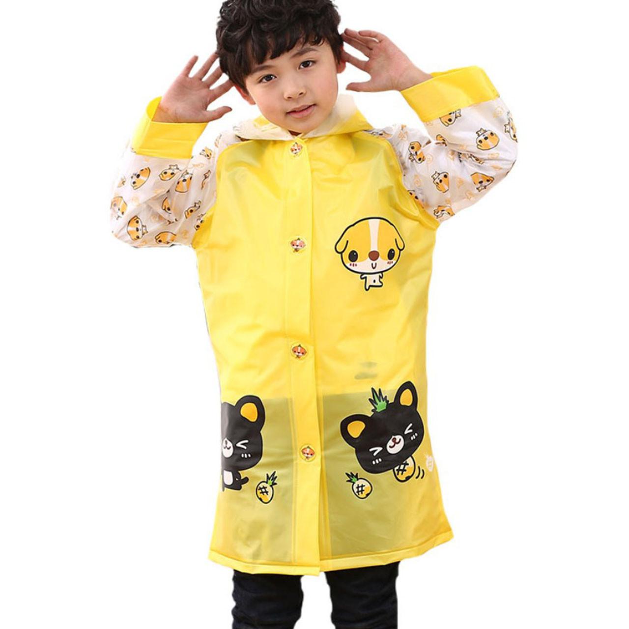 Детский плащ-дождевик Lesko водонепроницаемый с местом под рюкзак желтый размер XXL многоразовая защита